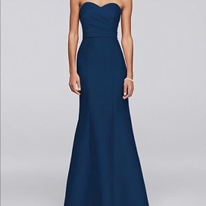 Davids Bridal Structured Mikado Strapless - Navy